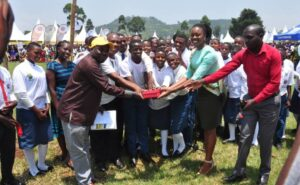 Administration and Students of Kisoro Vision SS receive 5Million Prize.